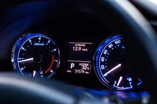 Speedometer car mileage close up