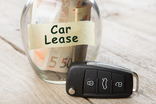 Car finance concept - money glass with words Car lease, car key